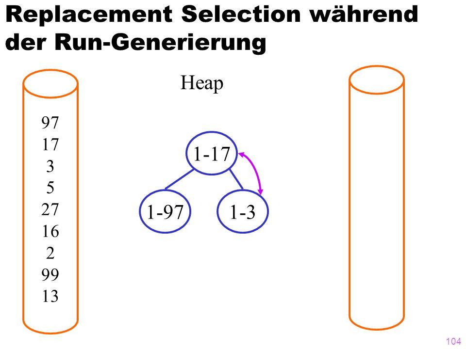 104 Replacement Selection während der Run-Generierung 97 17 3 5 27 16 2 99 13 Heap 1-17 1-971-3
