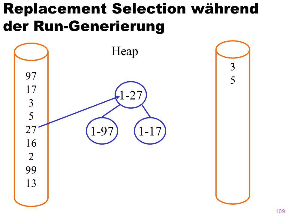 109 Replacement Selection während der Run-Generierung 97 17 3 5 27 16 2 99 13 3535 Heap 1-27 1-971-17