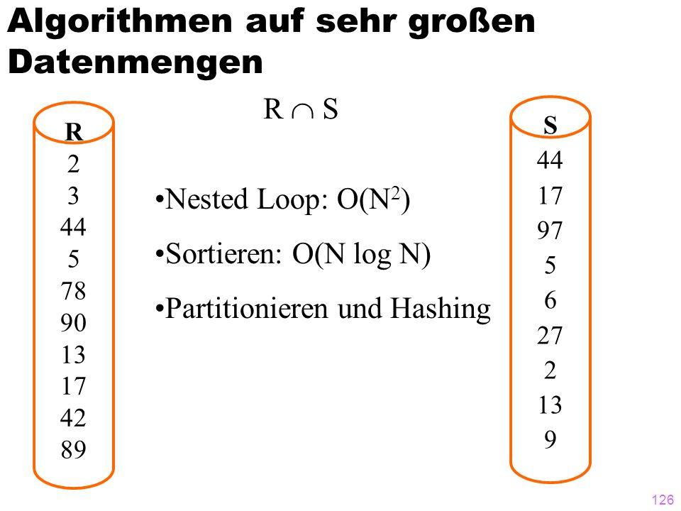 126 Algorithmen auf sehr großen Datenmengen R 2 3 44 5 78 90 13 17 42 89 S 44 17 97 5 6 27 2 13 9 R  S Nested Loop: O(N 2 ) Sortieren: O(N log N) Partitionieren und Hashing
