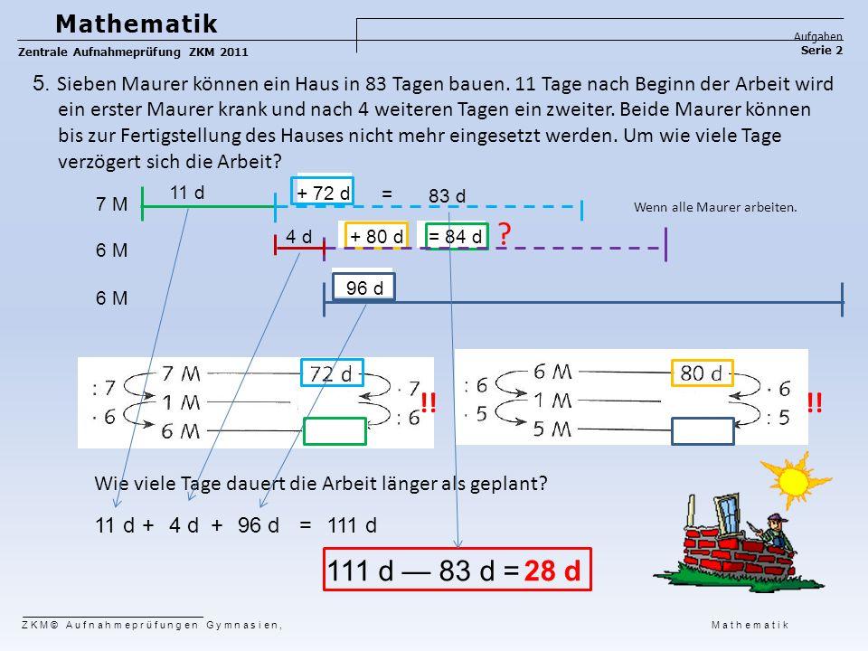 11 d 111 d — 83 d = Wenn alle Maurer arbeiten. ? !! Wie viele Tage dauert die Arbeit länger als geplant? 28 d 7 M 6 M + 72 d = 83 d 4 d+ 80 d= 84 d 96