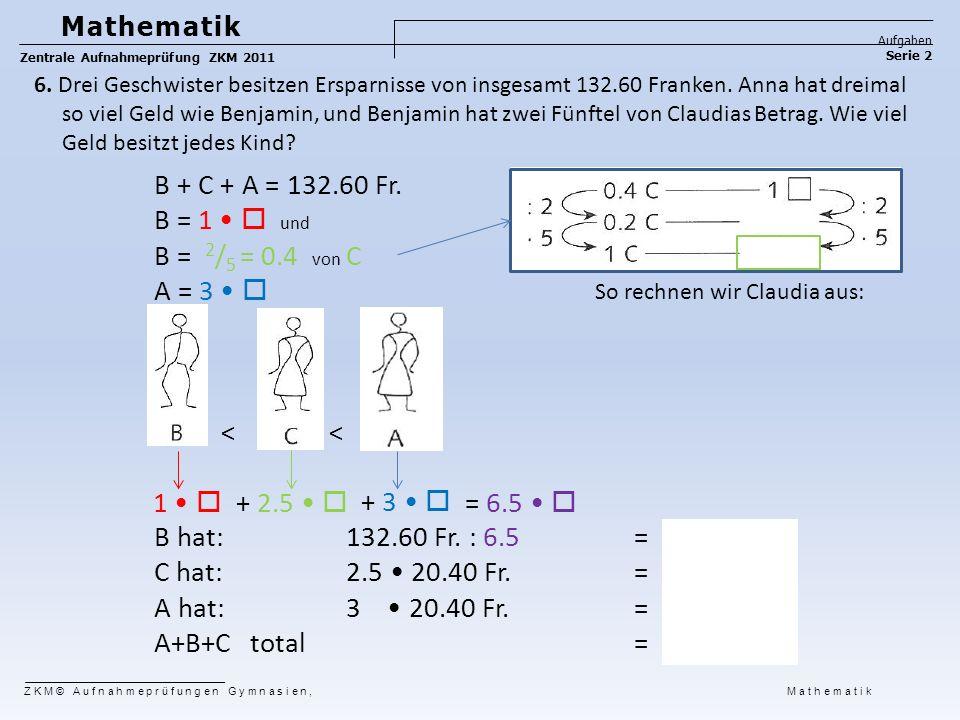 B + C + A = 132.60 Fr. B = 1  und B = 2 / 5 = 0.4 von C A = 3  < < B hat: 132.60 Fr. : 6.5 = 20.40 Fr. C hat: 2.5 20.40 Fr. = 51.00 Fr. A hat: 3 20.