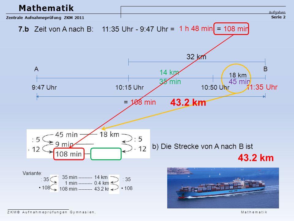 b) Die Strecke von A nach B ist 14 km 35 min45 min 11:35 Uhr = 108 min 1 h 48 min 35 min --------- 14 km 1 min --------- 0.4 km 108 min --------- 43.2