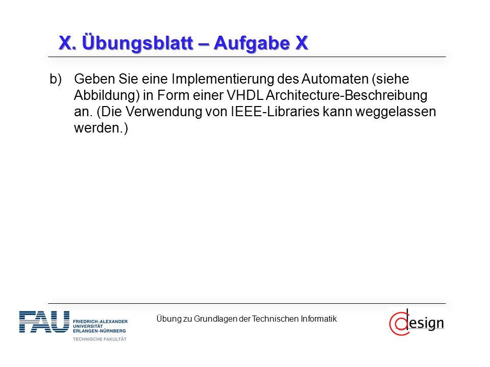 X. Übungsblatt – Aufgabe X b)Geben Sie eine Implementierung des Automaten (siehe Abbildung) in Form einer VHDL Architecture-Beschreibung an. (Die Verw