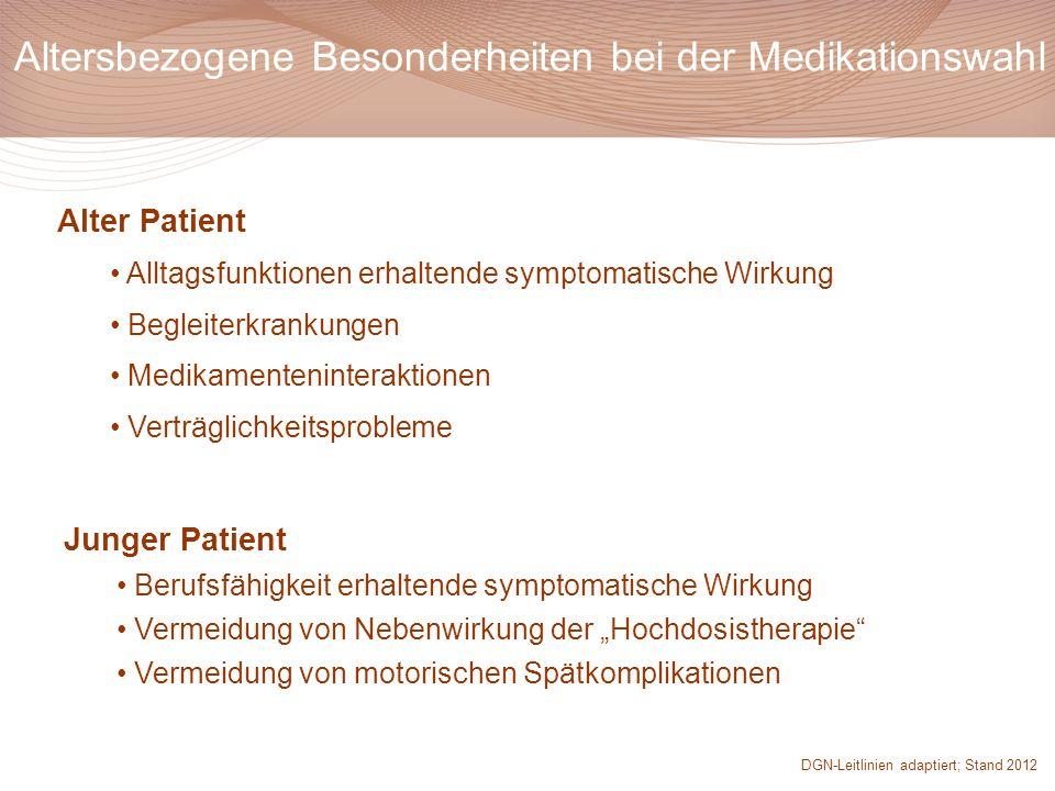 Alter Patient Alltagsfunktionen erhaltende symptomatische Wirkung Begleiterkrankungen Medikamenteninteraktionen Verträglichkeitsprobleme Altersbezogen