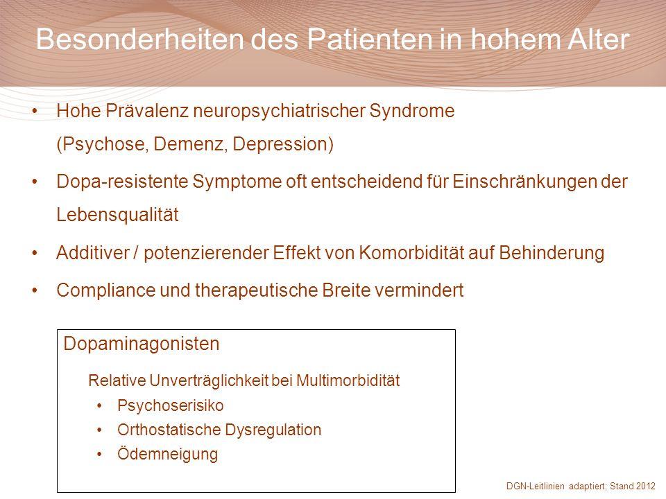Besonderheiten des Patienten in hohem Alter Hohe Prävalenz neuropsychiatrischer Syndrome (Psychose, Demenz, Depression) Dopa-resistente Symptome oft e