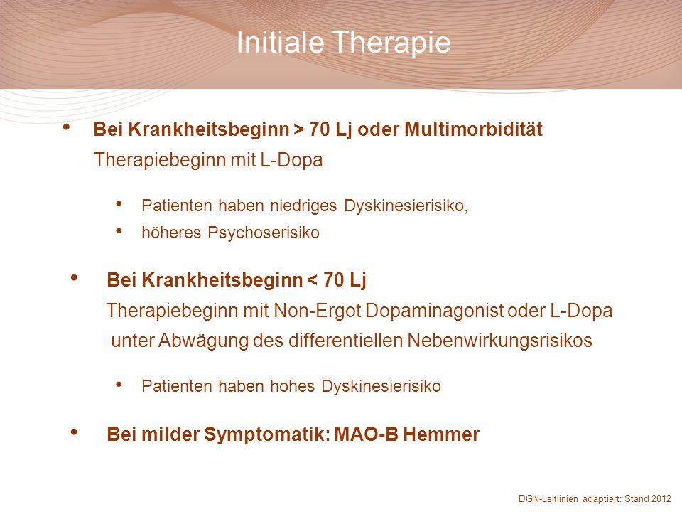 Initiale Therapie Bei Krankheitsbeginn > 70 Lj oder Multimorbidität Therapiebeginn mit L-Dopa Patienten haben niedriges Dyskinesierisiko, höheres Psyc