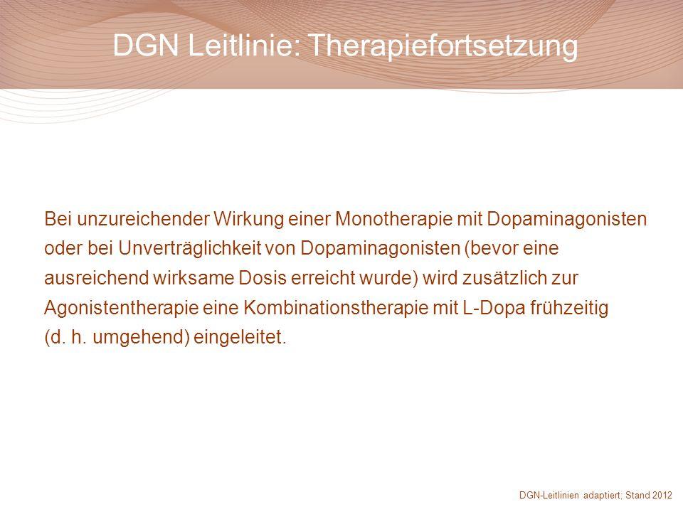 Bei unzureichender Wirkung einer Monotherapie mit Dopaminagonisten oder bei Unverträglichkeit von Dopaminagonisten (bevor eine ausreichend wirksame Do