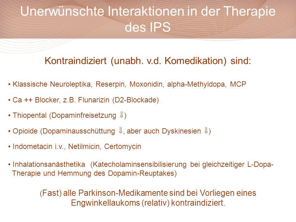 Unerwünschte Interaktionen in der Therapie des IPS Kontraindiziert (unabh. v.d. Komedikation) sind: Klassische Neuroleptika, Reserpin, Moxonidin, alph