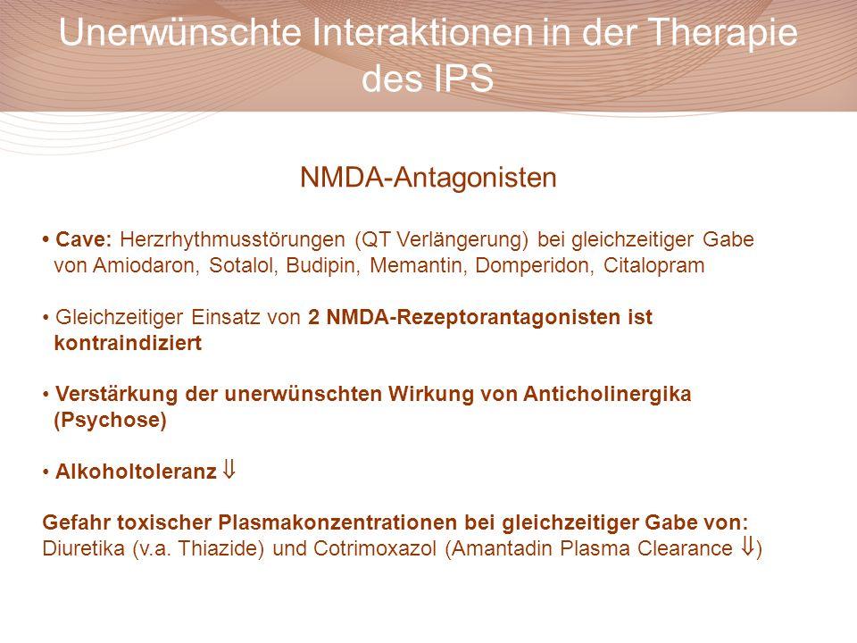 Unerwünschte Interaktionen in der Therapie des IPS Cave: Herzrhythmusstörungen (QT Verlängerung) bei gleichzeitiger Gabe von Amiodaron, Sotalol, Budip