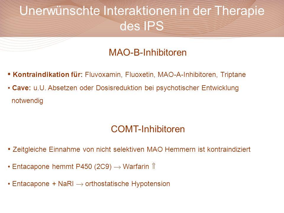 MAO-B-Inhibitoren Kontraindikation für: Fluvoxamin, Fluoxetin, MAO-A-Inhibitoren, Triptane Cave: u.U. Absetzen oder Dosisreduktion bei psychotischer E