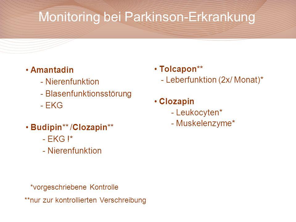Monitoring bei Parkinson-Erkrankung Amantadin - Nierenfunktion - Blasenfunktionsstörung - EKG Budipin** /Clozapin** - EKG !* - Nierenfunktion Tolcapon