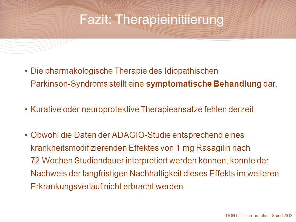 Die pharmakologische Therapie des Idiopathischen Parkinson-Syndroms stellt eine symptomatische Behandlung dar. Kurative oder neuroprotektive Therapiea