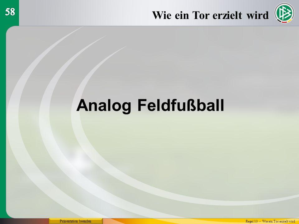 Präsentation beenden Wie ein Tor erzielt wird Regel 10 - Wie ein Tor erzielt wird Analog Feldfußball