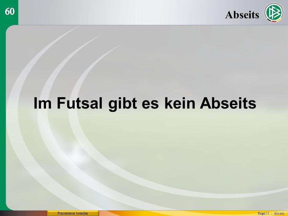 Präsentation beenden Abseits Regel 11 - Abseits Im Futsal gibt es kein Abseits