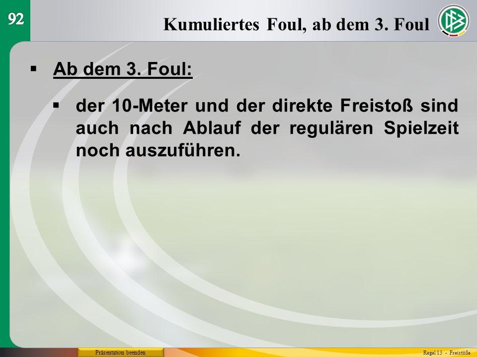 Präsentation beenden  Ab dem 3. Foul: Kumuliertes Foul, ab dem 3.