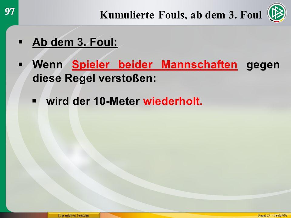 Präsentation beenden  Ab dem 3. Foul: Kumulierte Fouls, ab dem 3.