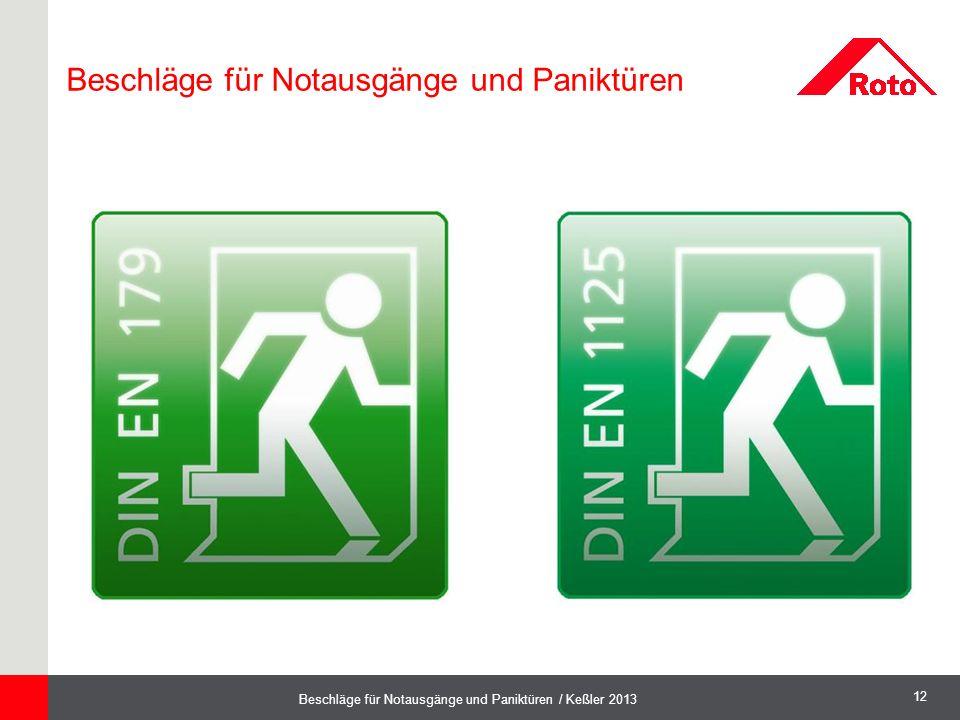 12 Beschläge für Notausgänge und Paniktüren / Keßler 2013 Beschläge für Notausgänge und Paniktüren