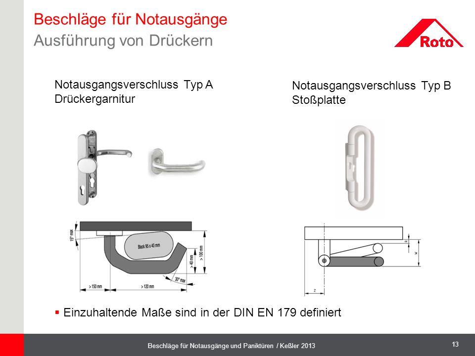 13 Beschläge für Notausgänge und Paniktüren / Keßler 2013 Notausgangsverschluss Typ A Drückergarnitur  Einzuhaltende Maße sind in der DIN EN 179 defi