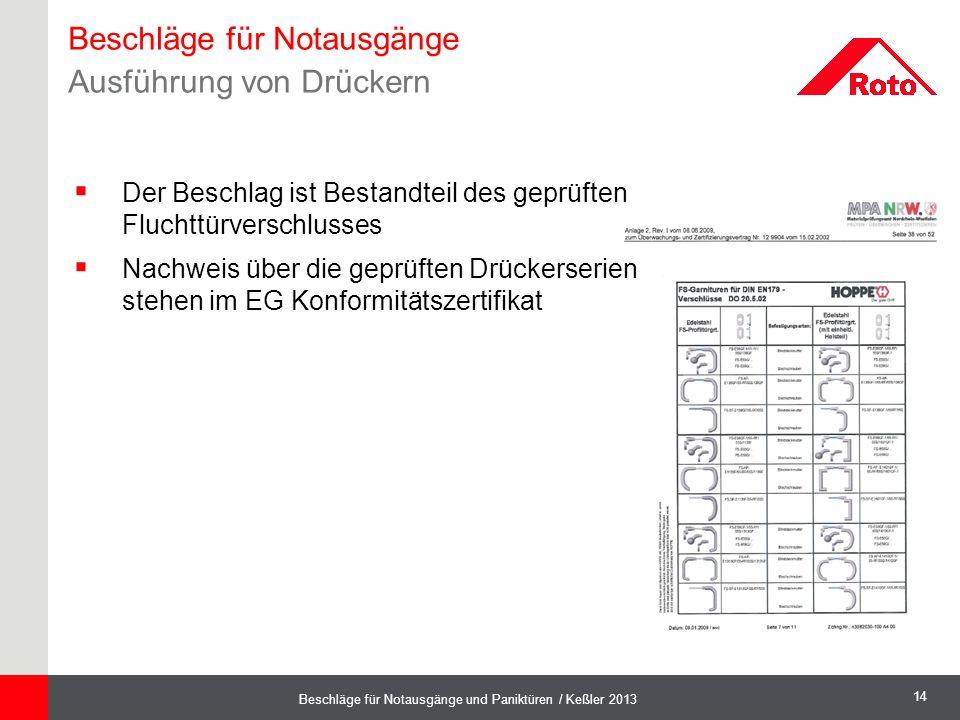 14 Beschläge für Notausgänge und Paniktüren / Keßler 2013  Der Beschlag ist Bestandteil des geprüften Fluchttürverschlusses  Nachweis über die geprü