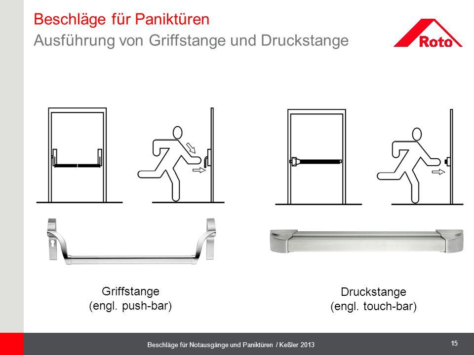 15 Beschläge für Notausgänge und Paniktüren / Keßler 2013 Griffstange (engl. push-bar) Druckstange (engl. touch-bar) Beschläge für Paniktüren Ausführu