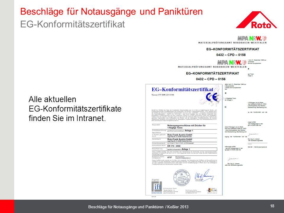 18 Beschläge für Notausgänge und Paniktüren / Keßler 2013 Beschläge für Notausgänge und Paniktüren EG-Konformitätszertifikat Alle aktuellen EG-Konform