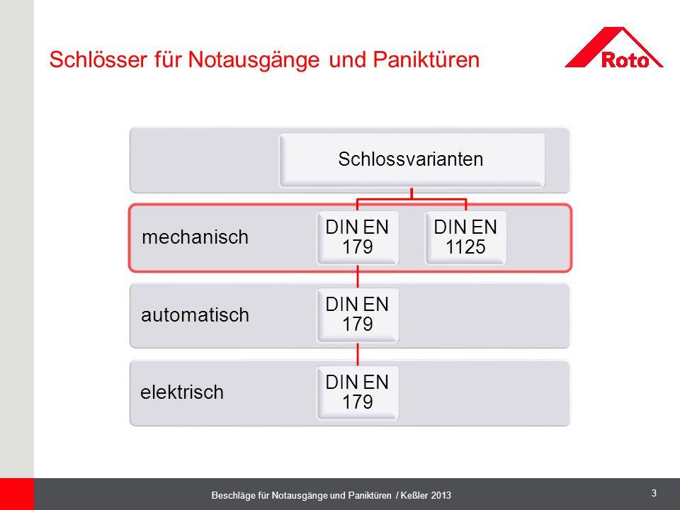 3 Beschläge für Notausgänge und Paniktüren / Keßler 2013 elektrisch automatisch mechanisch Schlossvarianten DIN EN 179 DIN EN 1125 Schlösser für Notau
