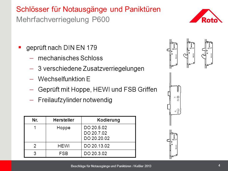 4 Beschläge für Notausgänge und Paniktüren / Keßler 2013 Schlösser für Notausgänge und Paniktüren Mehrfachverriegelung P600  geprüft nach DIN EN 179
