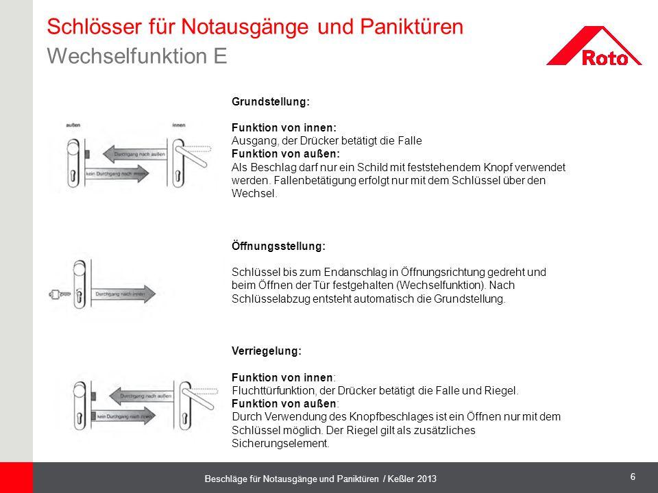 6 Beschläge für Notausgänge und Paniktüren / Keßler 2013 Grundstellung: Funktion von innen: Ausgang, der Drücker betätigt die Falle Funktion von außen