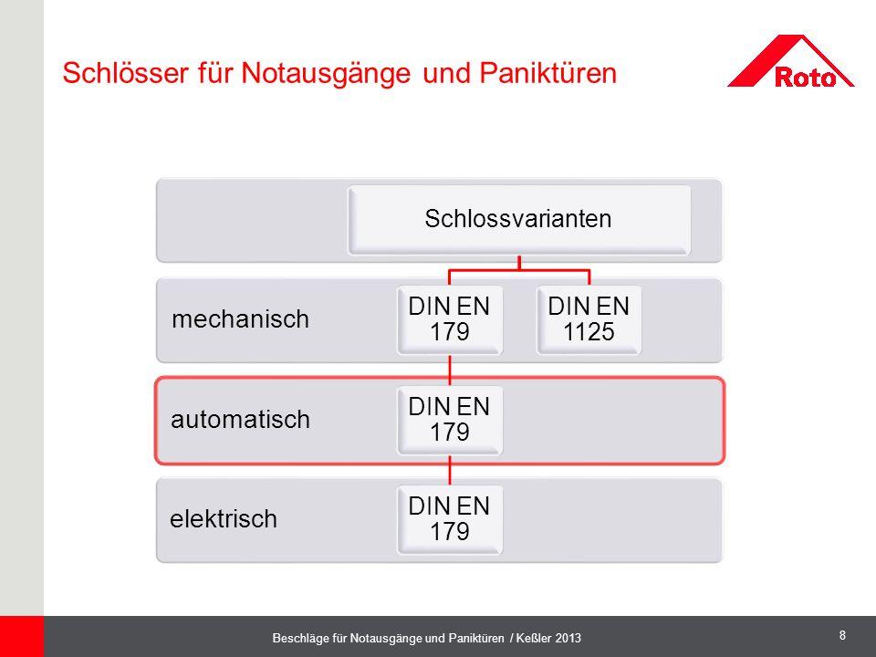 8 Beschläge für Notausgänge und Paniktüren / Keßler 2013 elektrisch automatisch mechanisch Schlossvarianten DIN EN 179 DIN EN 1125 Schlösser für Notau