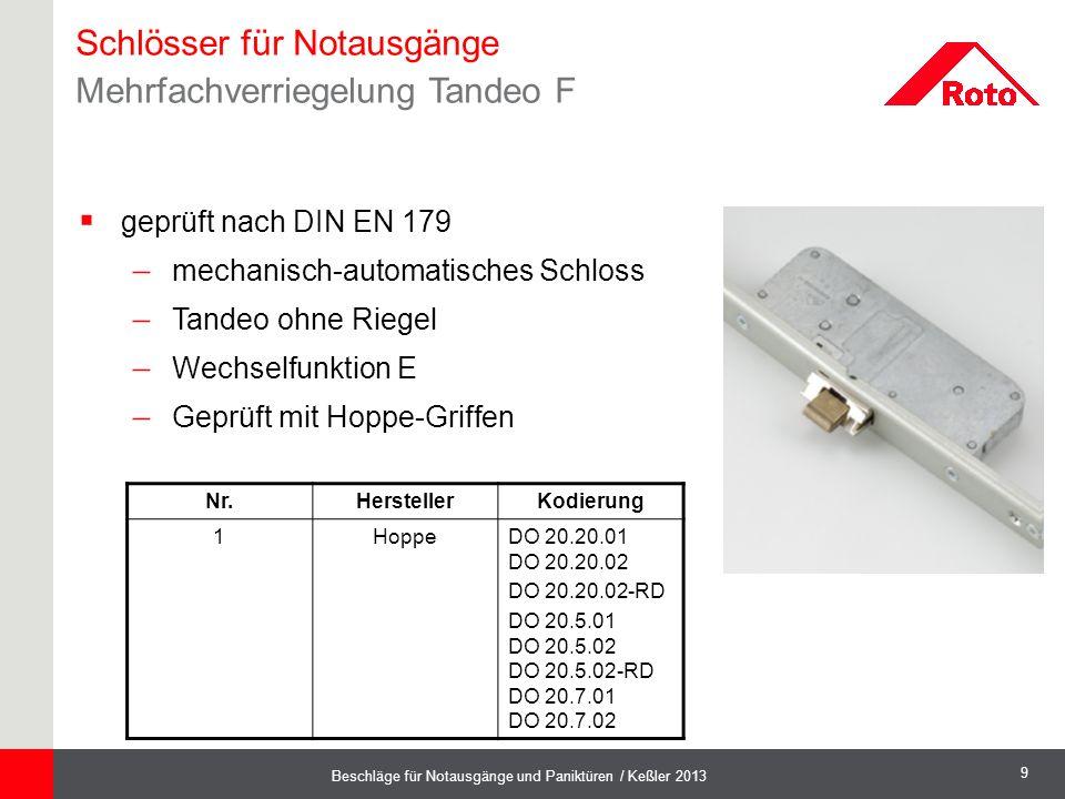 9 Beschläge für Notausgänge und Paniktüren / Keßler 2013  geprüft nach DIN EN 179  mechanisch-automatisches Schloss  Tandeo ohne Riegel  Wechselfu