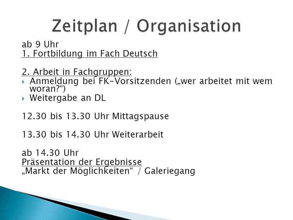 Zuordnung der Kolleginnen und Kollegen zu Arbeitsgruppen:  Abgabe bei den FK-Vorsitzenden bis 14.