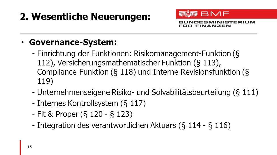 2. Wesentliche Neuerungen: Governance-System: -Einrichtung der Funktionen: Risikomanagement-Funktion (§ 112), Versicherungsmathematischer Funktion (§