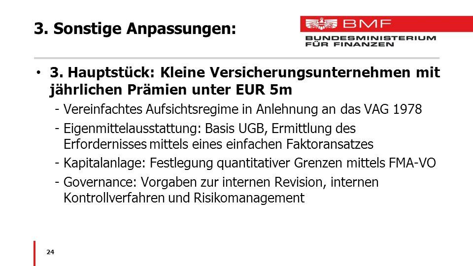 3. Sonstige Anpassungen: 3. Hauptstück: Kleine Versicherungsunternehmen mit jährlichen Prämien unter EUR 5m -Vereinfachtes Aufsichtsregime in Anlehnun