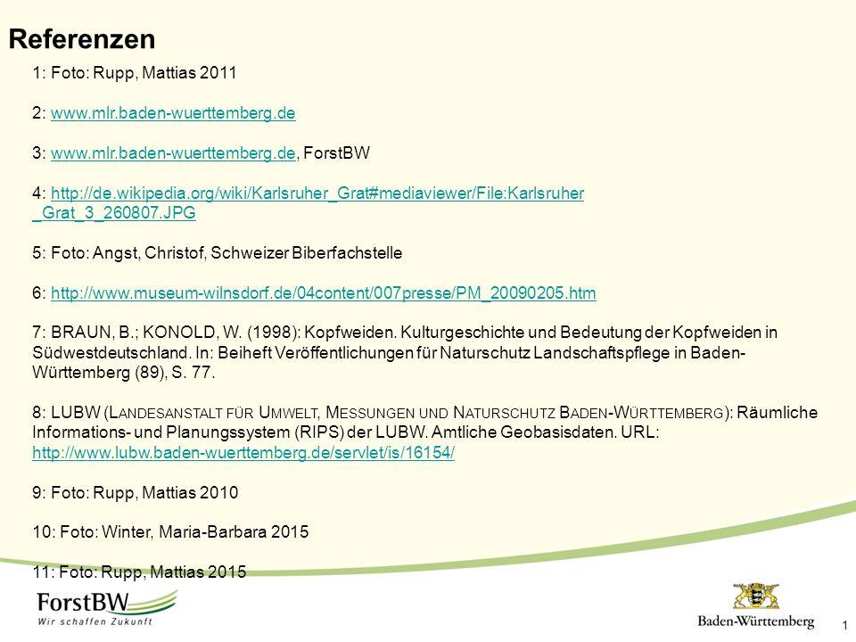 1 Referenzen 1: Foto: Rupp, Mattias 2011 2: www.mlr.baden-wuerttemberg.dewww.mlr.baden-wuerttemberg.de 3: www.mlr.baden-wuerttemberg.de, ForstBWwww.mlr.baden-wuerttemberg.de 4: http://de.wikipedia.org/wiki/Karlsruher_Grat#mediaviewer/File:Karlsruher _Grat_3_260807.JPGhttp://de.wikipedia.org/wiki/Karlsruher_Grat#mediaviewer/File:Karlsruher _Grat_3_260807.JPG 5: Foto: Angst, Christof, Schweizer Biberfachstelle 6: http://www.museum-wilnsdorf.de/04content/007presse/PM_20090205.htmhttp://www.museum-wilnsdorf.de/04content/007presse/PM_20090205.htm 7: BRAUN, B.; KONOLD, W.