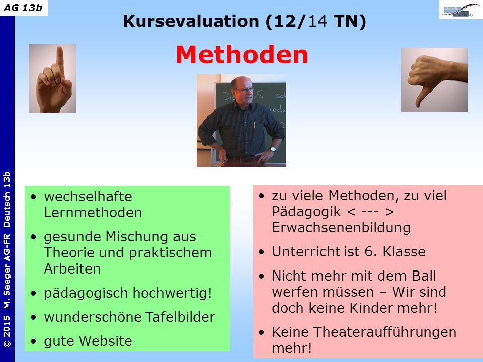 2 © 2015 M. Seeger AG-FR Deutsch 13b AG 13b Kursevaluation (12/14 TN) Methoden zu viele Methoden, zu viel Pädagogik Erwachsenenbildung Unterricht ist