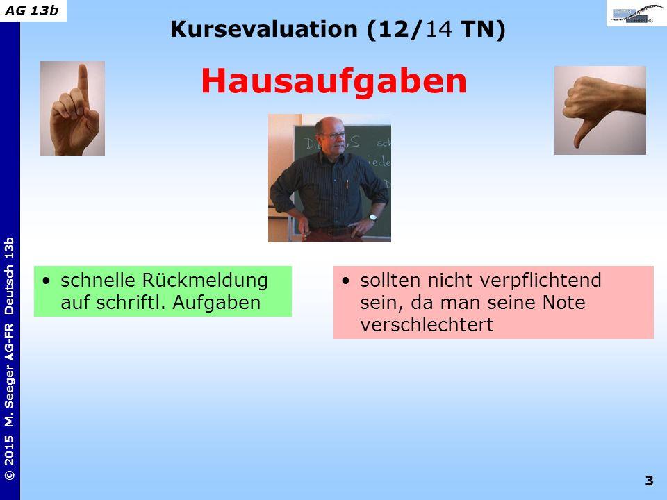 3 © 2015 M. Seeger AG-FR Deutsch 13b AG 13b Kursevaluation (12/14 TN) Hausaufgaben sollten nicht verpflichtend sein, da man seine Note verschlechtert