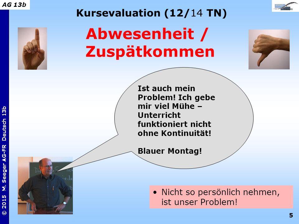 5 © 2015 M. Seeger AG-FR Deutsch 13b AG 13b Kursevaluation (12/14 TN) Abwesenheit / Zuspätkommen Nicht so persönlich nehmen, ist unser Problem! Ist au