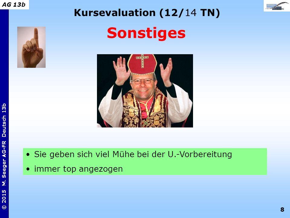 8 © 2015 M. Seeger AG-FR Deutsch 13b AG 13b Kursevaluation (12/14 TN) Sonstiges Sie geben sich viel Mühe bei der U.-Vorbereitung immer top angezogen