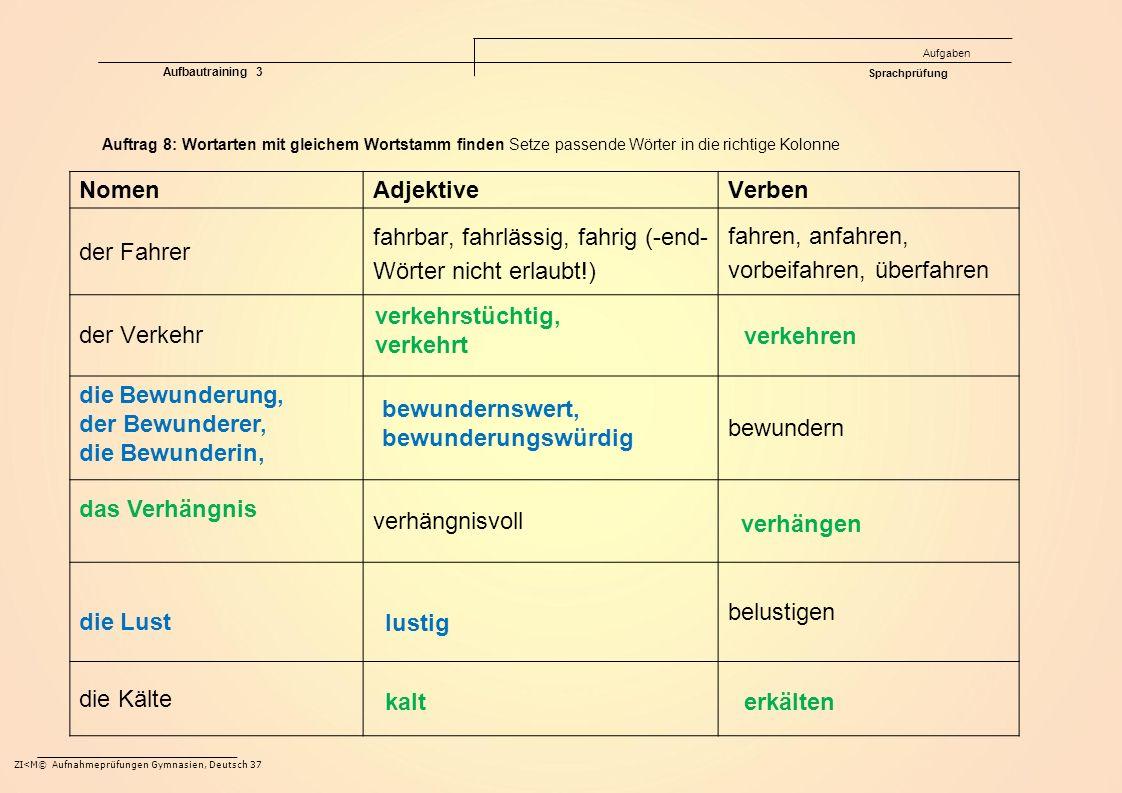 ZI<M© Aufnahmeprüfungen Gymnasien, Deutsch 37 Auftrag 8: Wortarten mit gleichem Wortstamm finden Setze passende Wörter in die richtige Kolonne NomenAd