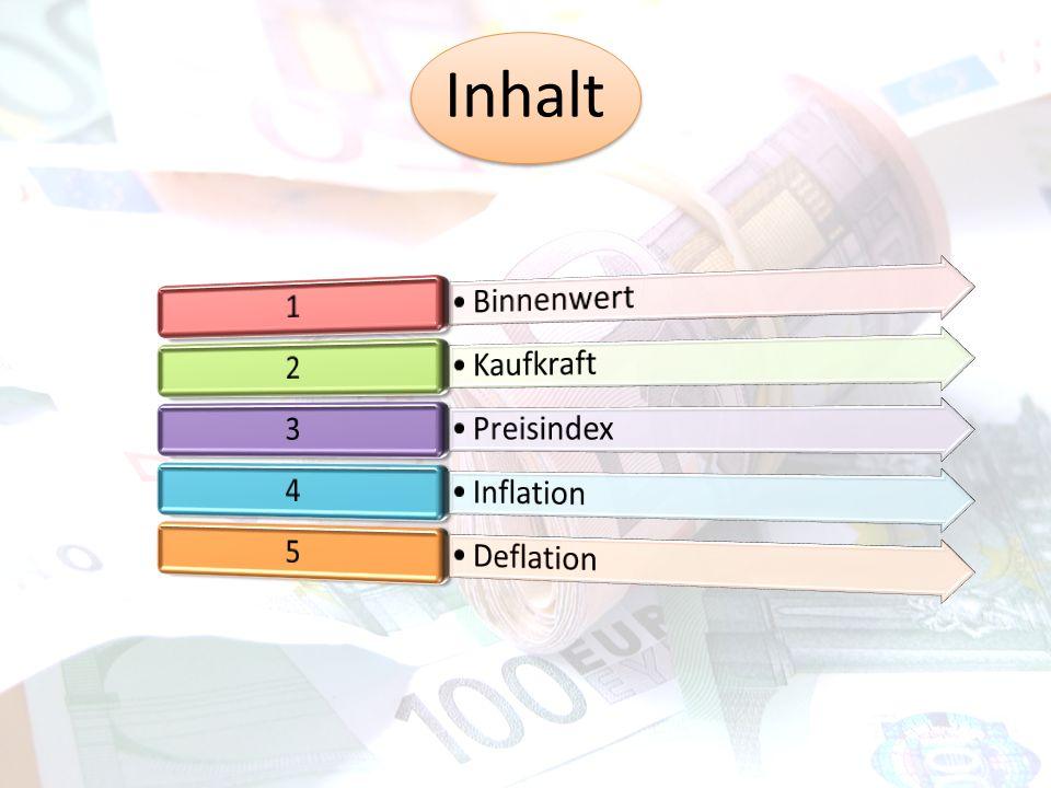Binnenwert Der Binnenwert zeigt, wie viele Güter und Dienstleistungen man für einen gewissen Geldbetrag, im Land, bekommt.
