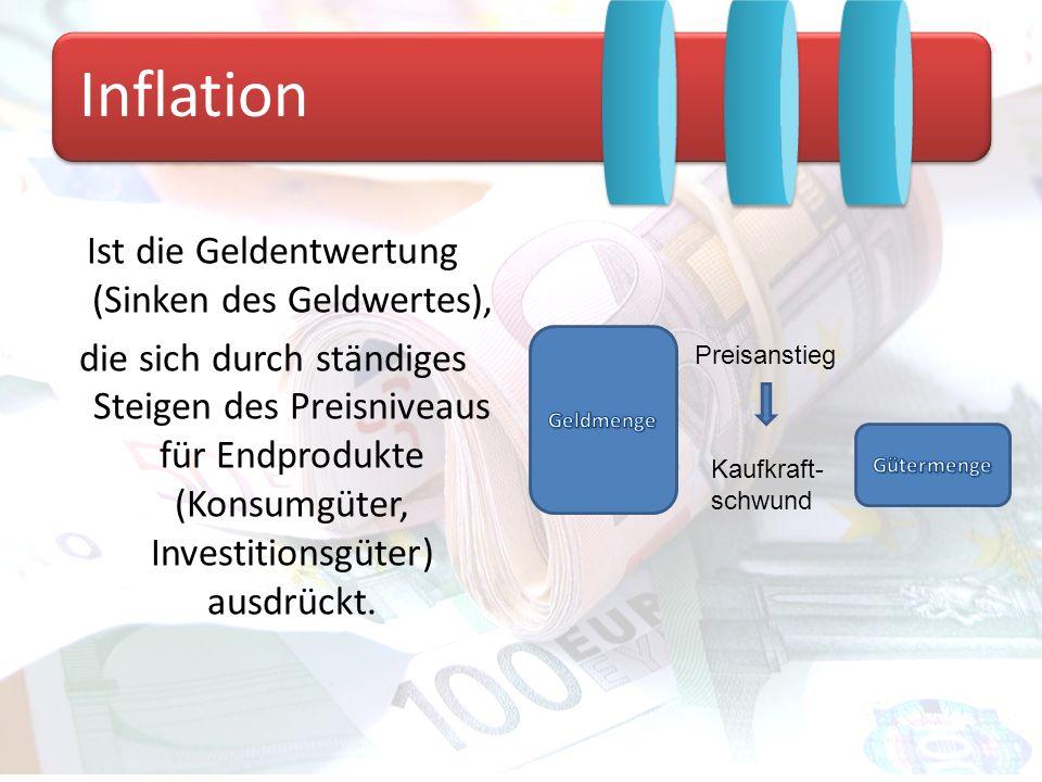 Unter Deflation versteht man das anhaltende Sinken des Preisniveaus einer Gütergruppe oder des gesamtwirtschaftlichen Preisniveaus.