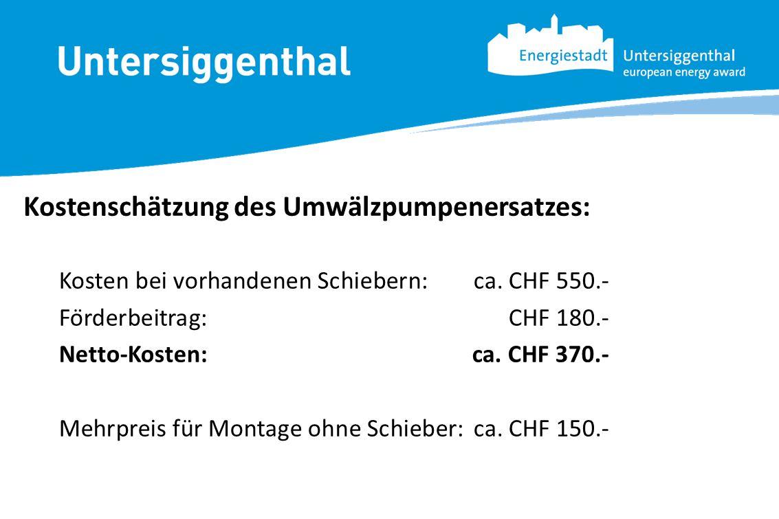 Kosten bei vorhandenen Schiebern:ca. CHF 550.- Förderbeitrag: CHF 180.- Netto-Kosten:ca. CHF 370.- Mehrpreis für Montage ohne Schieber:ca. CHF 150.-