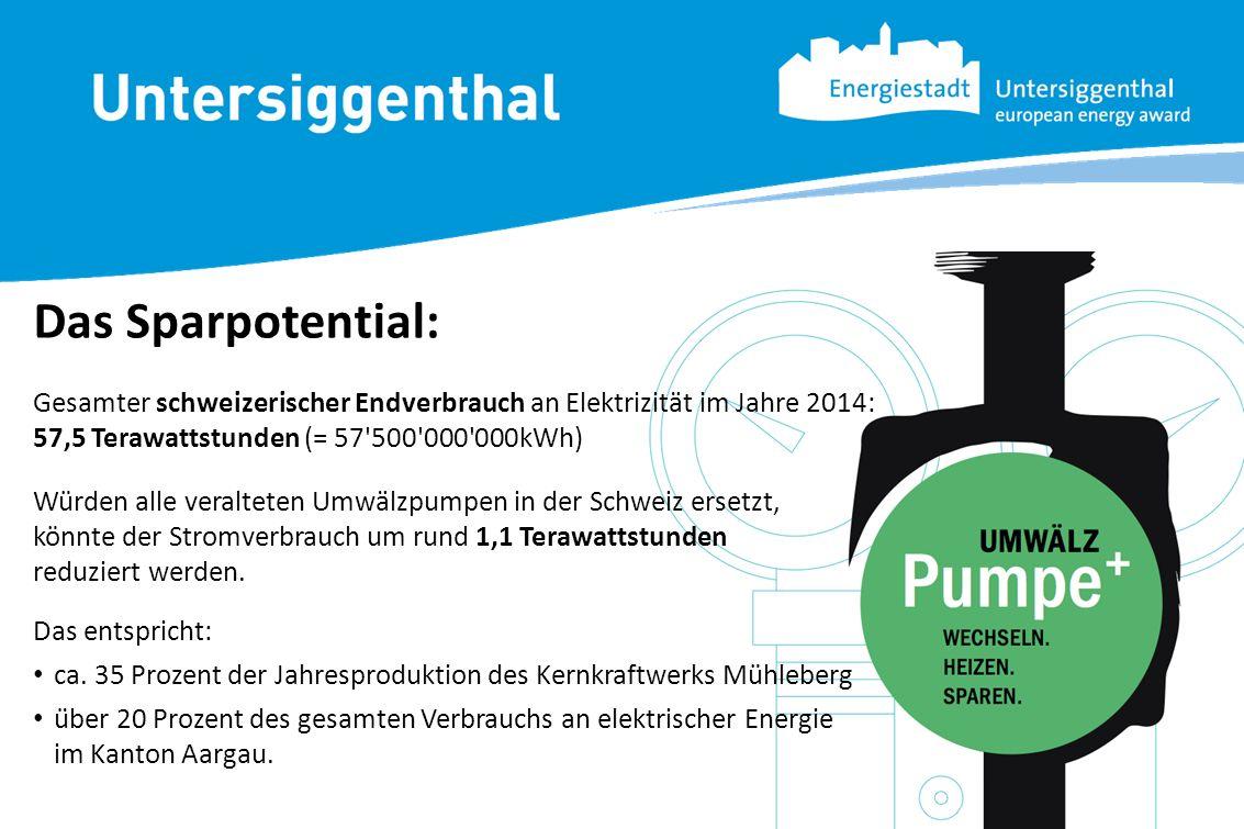 Das Sparpotential: Würden alle veralteten Umwälzpumpen in der Schweiz ersetzt, könnte der Stromverbrauch um rund 1,1 Terawattstunden reduziert werden.