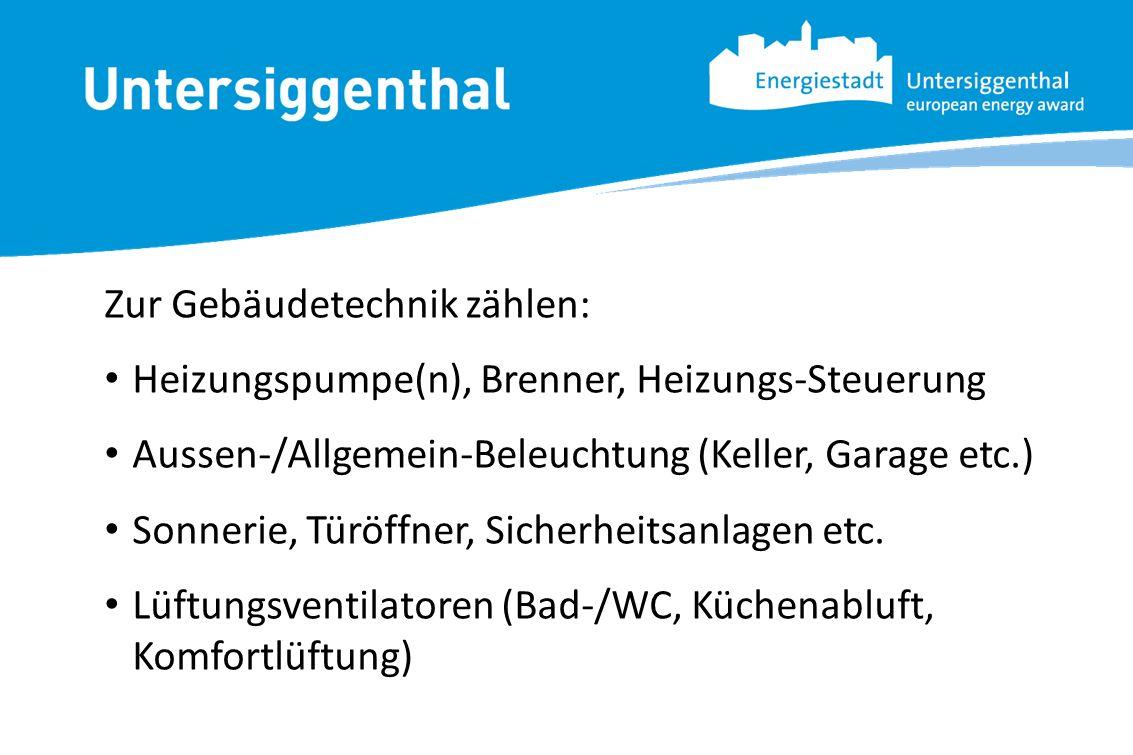 Zur Gebäudetechnik zählen: Heizungspumpe(n), Brenner, Heizungs-Steuerung Aussen-/Allgemein-Beleuchtung (Keller, Garage etc.) Sonnerie, Türöffner, Sich