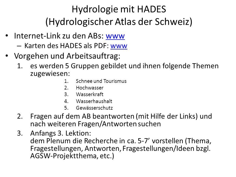 Hydrologie mit HADES (Hydrologischer Atlas der Schweiz) Internet-Link zu den ABs: wwwwww – Karten des HADES als PDF: wwwwww Vorgehen und Arbeitsauftrag: 1.es werden 5 Gruppen gebildet und ihnen folgende Themen zugewiesen: 1.Schnee und Tourismus 2.Hochwasser 3.Wasserkraft 4.Wasserhaushalt 5.Gewässerschutz 2.Fragen auf dem AB beantworten (mit Hilfe der Links) und nach weiteren Fragen/Antworten suchen 3.Anfangs 3.