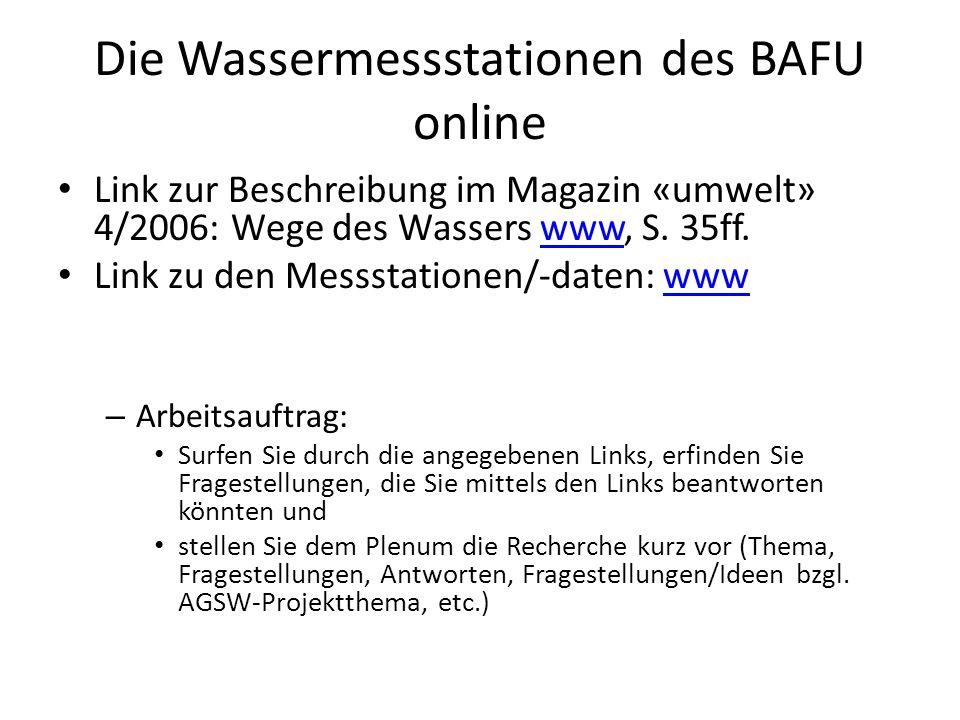 Die Wassermessstationen des BAFU online Link zur Beschreibung im Magazin «umwelt» 4/2006: Wege des Wassers www, S.