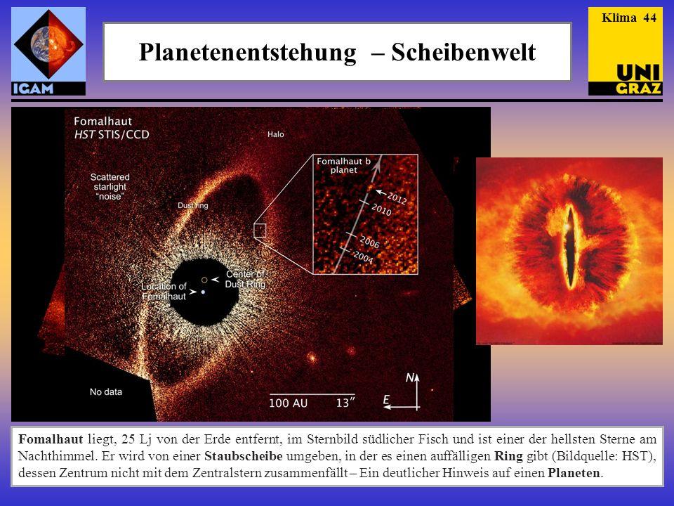 Planetenentstehung – Scheibenwelt Fomalhaut liegt, 25 Lj von der Erde entfernt, im Sternbild südlicher Fisch und ist einer der hellsten Sterne am Nachthimmel.
