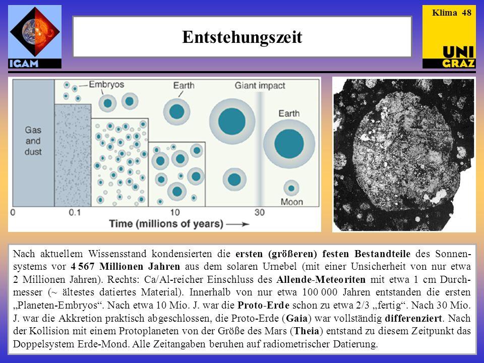 Entstehungszeit Klima 48 Nach aktuellem Wissensstand kondensierten die ersten (größeren) festen Bestandteile des Sonnen- systems vor 4 567 Millionen Jahren aus dem solaren Urnebel (mit einer Unsicherheit von nur etwa 2 Millionen Jahren).