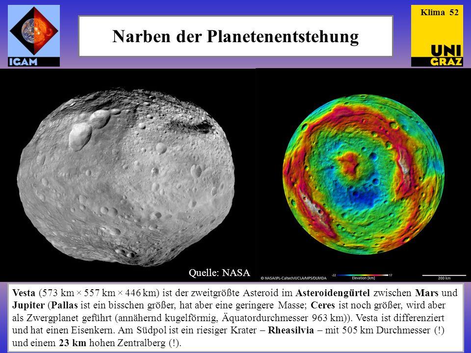 Narben der Planetenentstehung Vesta (573 km × 557 km × 446 km) ist der zweitgrößte Asteroid im Asteroidengürtel zwischen Mars und Jupiter (Pallas ist ein bisschen größer, hat aber eine geringere Masse; Ceres ist noch größer, wird aber als Zwergplanet geführt (annähernd kugelförmig, Äquatordurchmesser 963 km)).