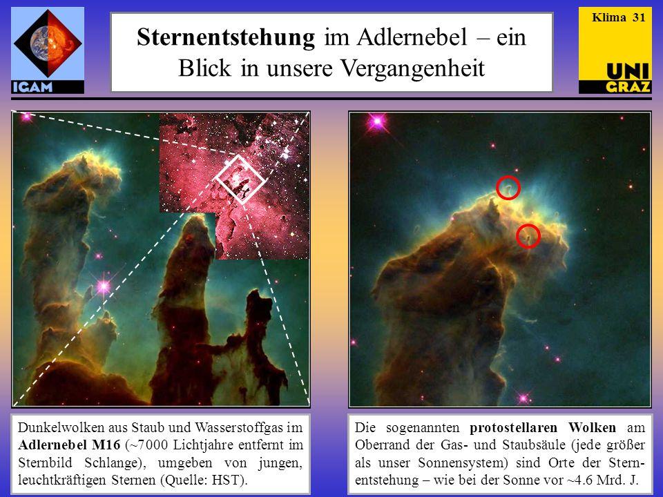 Sternentstehung im Adlernebel – ein Blick in unsere Vergangenheit Dunkelwolken aus Staub und Wasserstoffgas im Adlernebel M16 (~7 000 Lichtjahre entfernt im Sternbild Schlange), umgeben von jungen, leuchtkräftigen Sternen (Quelle: HST).